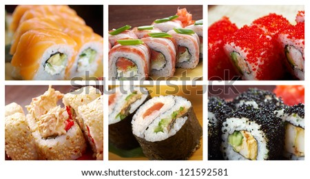 Food set of different Japanese Cuisine - Sushi Roll . collage - stock photo