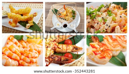 Food set of different shrimps  dishi .