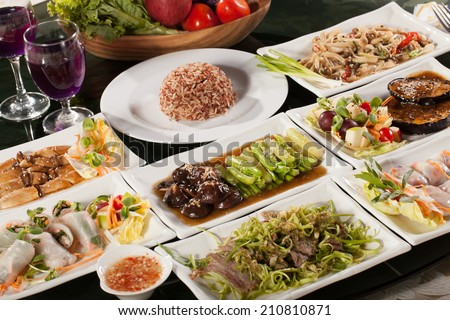 food set, round table full with many vegetarian Thai food with rice for diet  - stock photo
