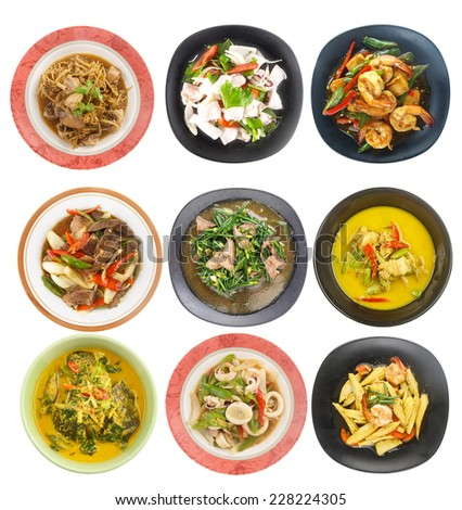 Food set - Top view of Thai food isolated on white