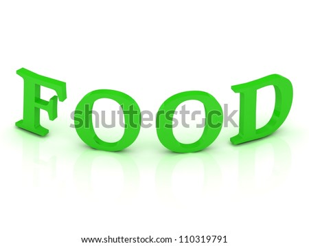 FOOD sign with green letters on isolated white background - stock photo