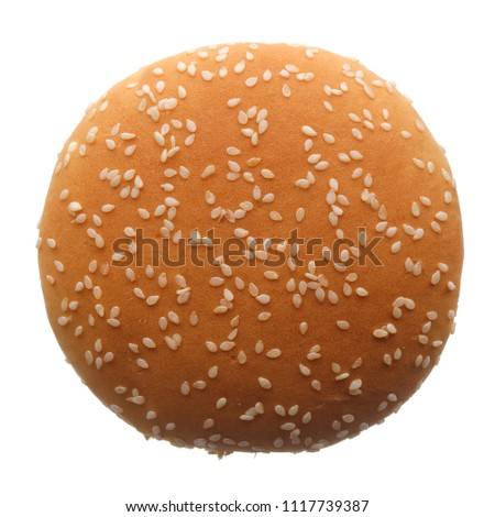 Food: single burger bun, isolated on white background