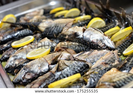 food, smoked fish ready for birthday party - stock photo