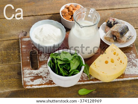 Food Sources of Calcium. Healthy eating. - stock photo