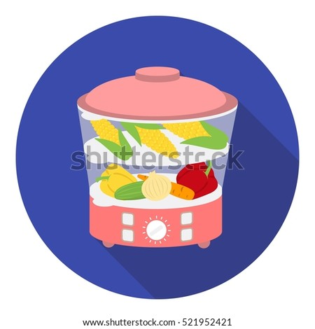 Food steamer icon in flat style isolated on white background. Household appliance symbol stock bitmap illustration.