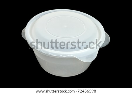 Food Storage Container Isolated on Black Background - stock photo
