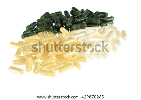 food supplement pills - stock photo