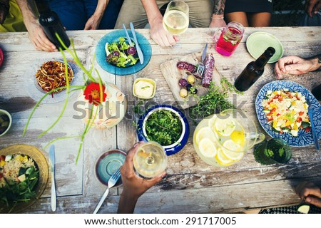 Food Table Healthy Delicious Organic Meal Concept - stock photo