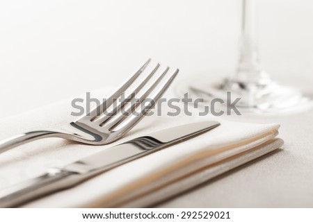Food, tableware, tablecloth. - stock photo