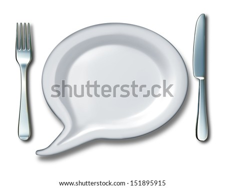 Food talk concept with a word bubble or talk speech message with a white blank ceramic plate shaped as a comic book communication icon with a fork and knife table setting for diet or nutrition ideas. - stock photo