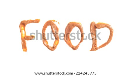 food text made of hand write with chocolate sweet food isolated on white - stock photo
