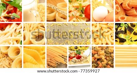 Food theme: conceptual collage of delicious pasta. - stock photo