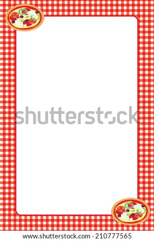 Food Theme Frame: Pizza and Red Tablecloth - stock photo