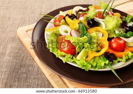 Food theme: fresh vegetable salad. - stock photo
