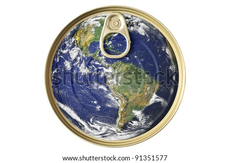 Food tin can and earth concept. Lid image of the world printed canned food. Earth image courtesy of NASA. http://visibleearth.nasa.gov/view.php?id=54388 - stock photo