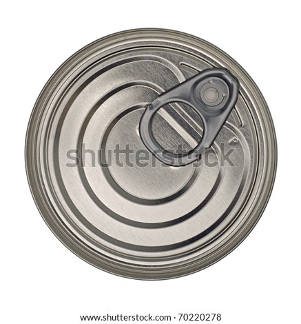 Food Tin Can Lid Isolated on White Background - stock photo