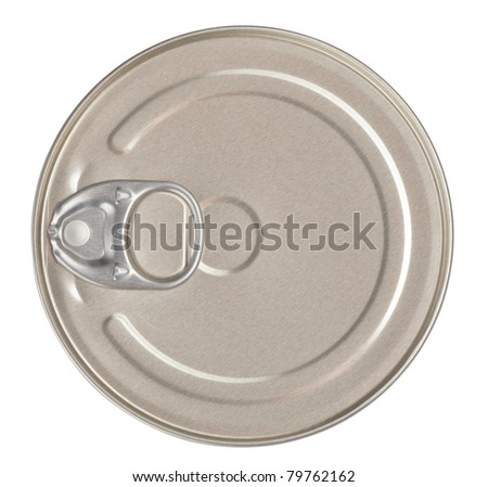 Food tin can top view isolated with clipping path included - stock photo