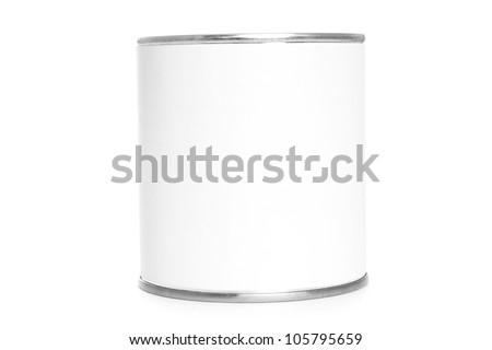 Food tin with white label on white background - stock photo