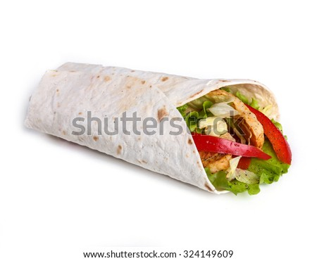 Food. Tortilla on a white background - stock photo