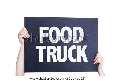 Food Truck card isolated on white background - stock photo