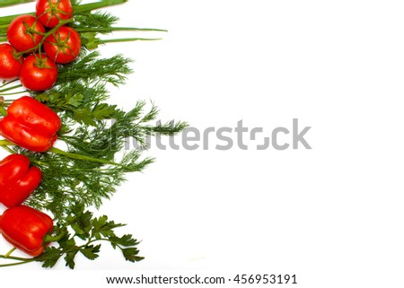 Food. Vegetables. Salad for vegetarian. Isolated. Background for a cooking show. Blog. Advertising. For store. Tomatoes. Bulgarian pepper. Paprika. Dill. Green onions. Parsley. White background. - stock photo