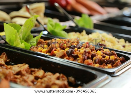 food vitrine - stock photo