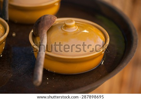 Food was prepared for the wedding dinner. - stock photo