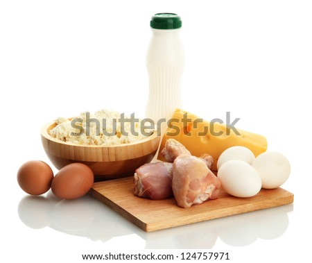 food with protein, isolated on white - stock photo
