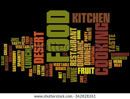 Food, word cloud concept on black background - stock photo