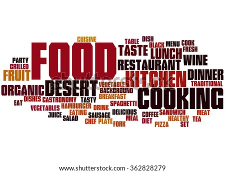 Food, word cloud concept on white background. - stock photo