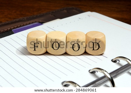 Food word concept on notebook