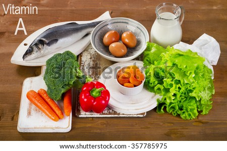 Foods containing vitamin A. - stock photo