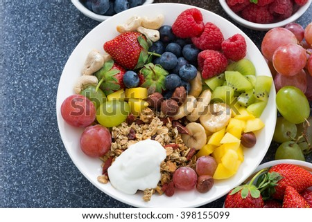 foods for a healthy breakfast - fresh berries, fruits, nuts and muesli on dark background, top view