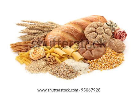 Foods high in carbohydrate, isolated on white - stock photo