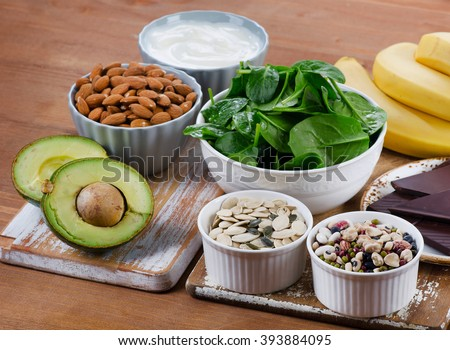 Foods High in Magnesium. Healthy diet eating. - stock photo
