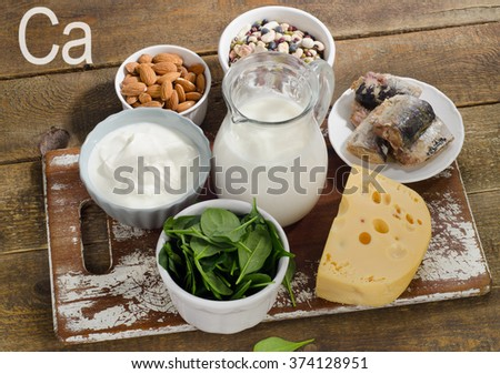 Foods Highest in Calcium on a wooden board. Top view