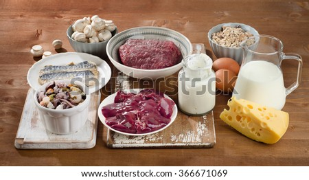 Foods Highest in Vitamin B12 (Cobalamin). Healthy diet. - stock photo