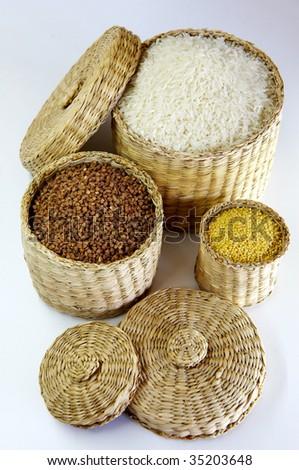 foods ingredient vegetarian rices millet groats - stock photo