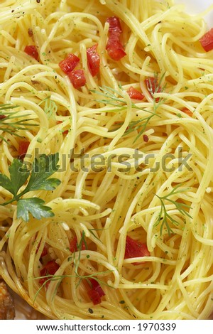 foodstuff: texture of spaghetti (pasta) - stock photo