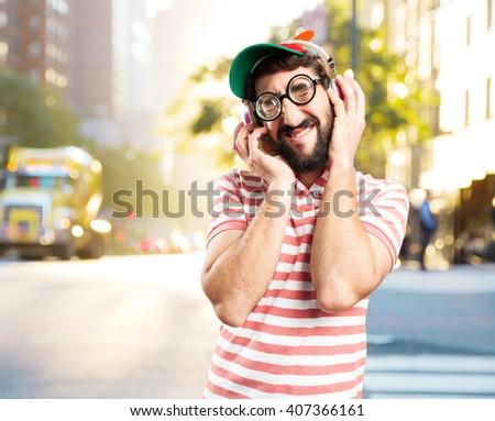 fool crazy man. happy expression - stock photo