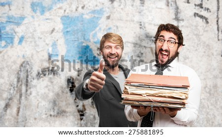 fool man in a party. grunge cement background - stock photo