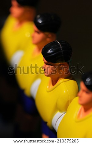 foosball.Football table,yellow players - stock photo