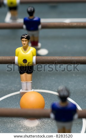 foosball game close up vertical format - stock photo