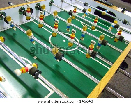 Foosball Table close up - stock photo