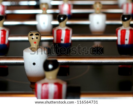 Foosball table match - stock photo