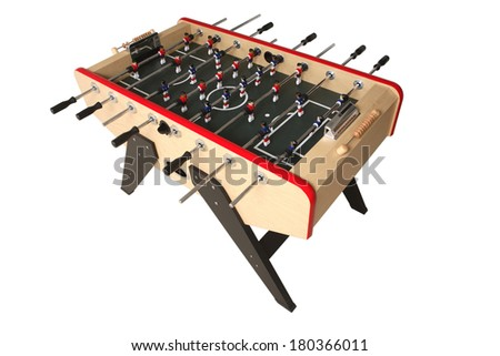Foosball table on white background - stock photo