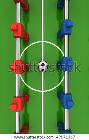 foosball table with red and blue players - stock photo