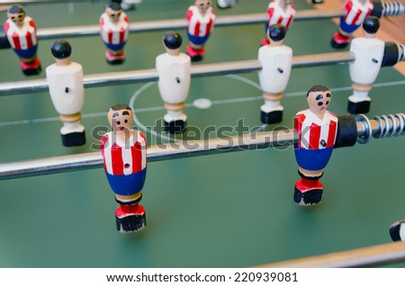 Foosball team made in wood and metal - stock photo