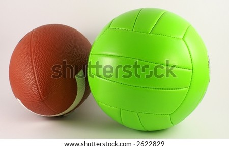 foot ball and volley ball - stock photo