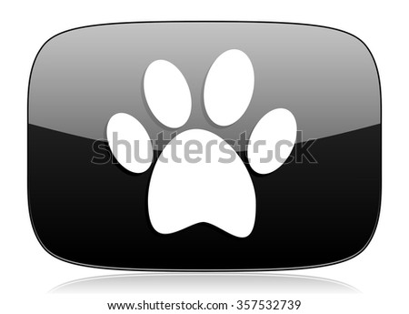 foot black glossy web modern icon - stock photo
